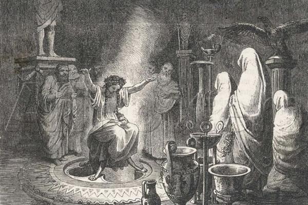 Delfi oraakel, Heinrich Leutemann (1824–1905), allikas: Wikimedia Commons
