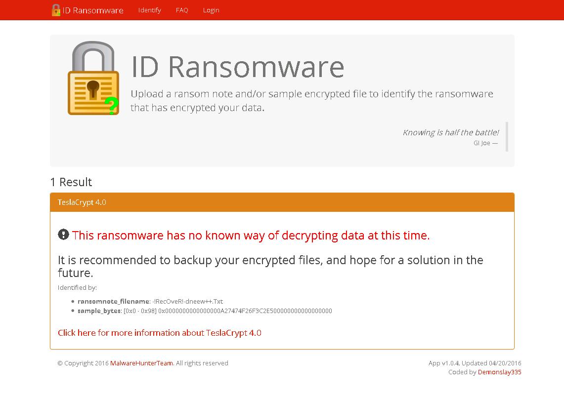 Näide õnnestunud äratundmisest, ID_Ransomware