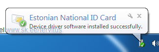 "Teade ekraani allosas: ""Estonian National ID Card. Device driver software installed successfully."""