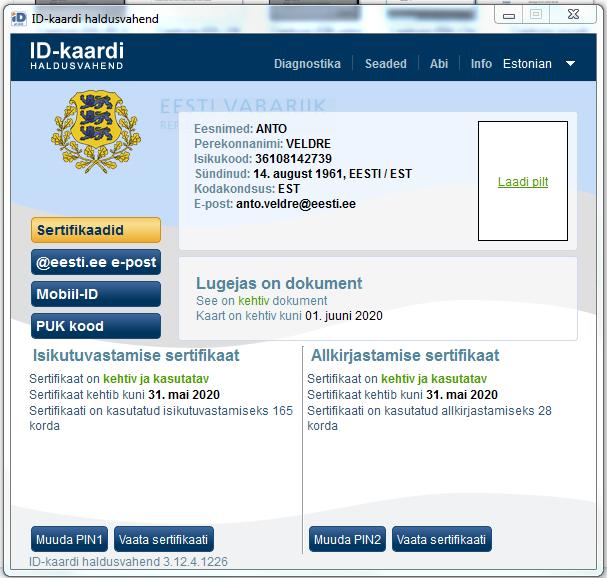 Pildil haldusvahend, mis kuvab ID-kaardi andmeid (isikuandmed, dokumendi andmed, sertifikaatide andmed).