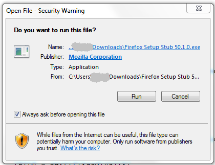 "Ekraanil tekst: ""Open File - Security Warning. Do you want to run this file?"""