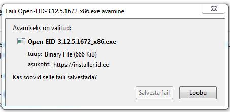"Teade ekraanil: ""Faili Open-EID-3.12.5.1672_x86.exe avamine"""