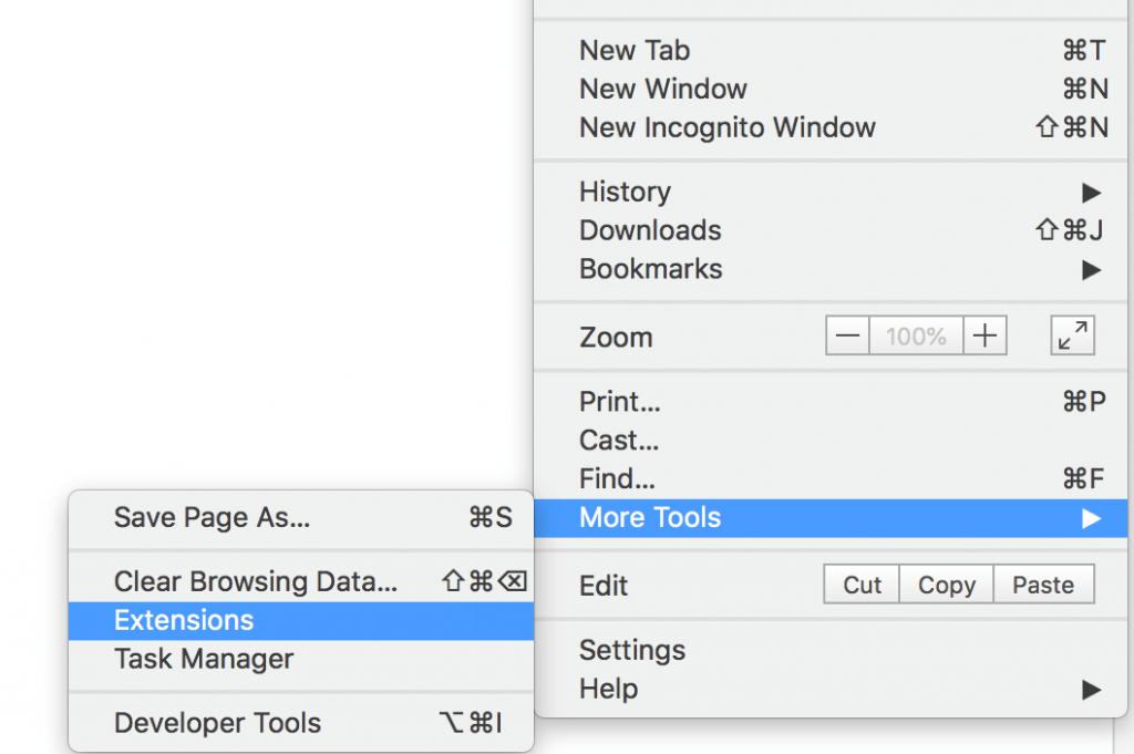 """Menüüst on valitud """"More Tools"""" ning sellelt avanenud lisaaknast """"Extensions"""""""