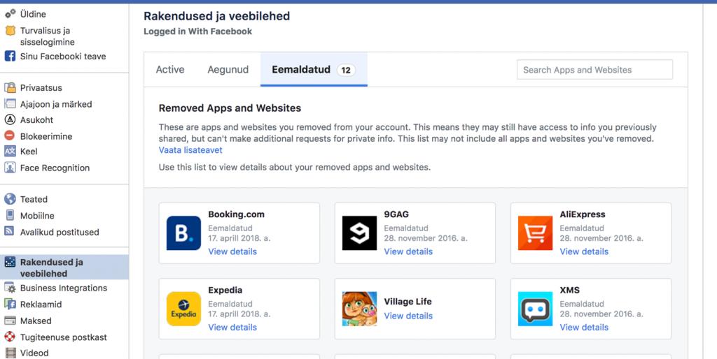 Tekstid ekraanipildil: Rakendused ja veebilehed. Eemaldatud (12) Removed Apps and Websites.