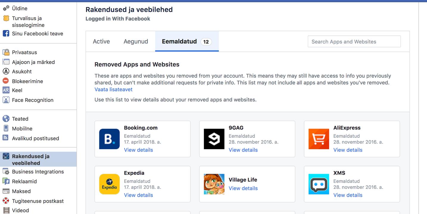5127d736e99 Tekstid ekraanipildil: Rakendused ja veebilehed. Eemaldatud (12) Removed  Apps and Websites.
