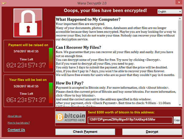 Ekraanipilt WannaCry failide krüpteerimise teatest.